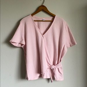 Old navy pink wrap blouse